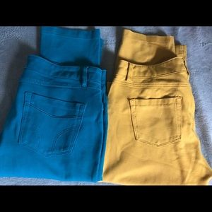 Pants - SOLD  pairs of Teal and Mustard Skinny Jeggings
